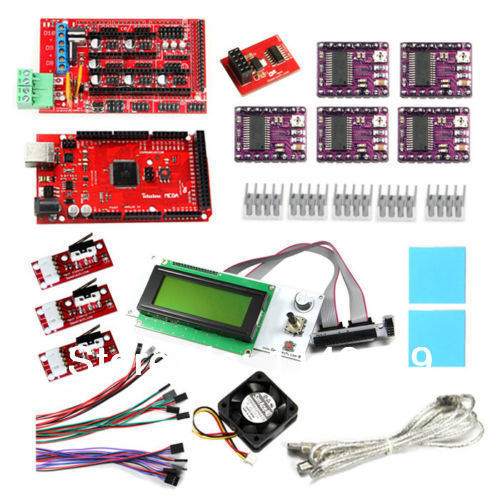 3D Printer Kits-Smart LCD2004 Display, DRV8825 stepper motor driver,RAMPS1.4 Shield,Mega2560, Heatsink & SD Module... flsun 3d printer big pulley kossel 3d printer with one roll filament sd card fast shipping
