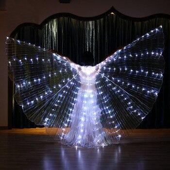 Mujeres luz blanca danza del vientre LED alas mariposa bailarina disfraces Oriental India danza del vientre actuación accesorio de baile Lite