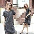 Solto grande tamanho l para 5xl mulheres dress outono verão dress cinza moda na altura do joelho-comprimento o-pescoço dress vestido de vestes femmes festa
