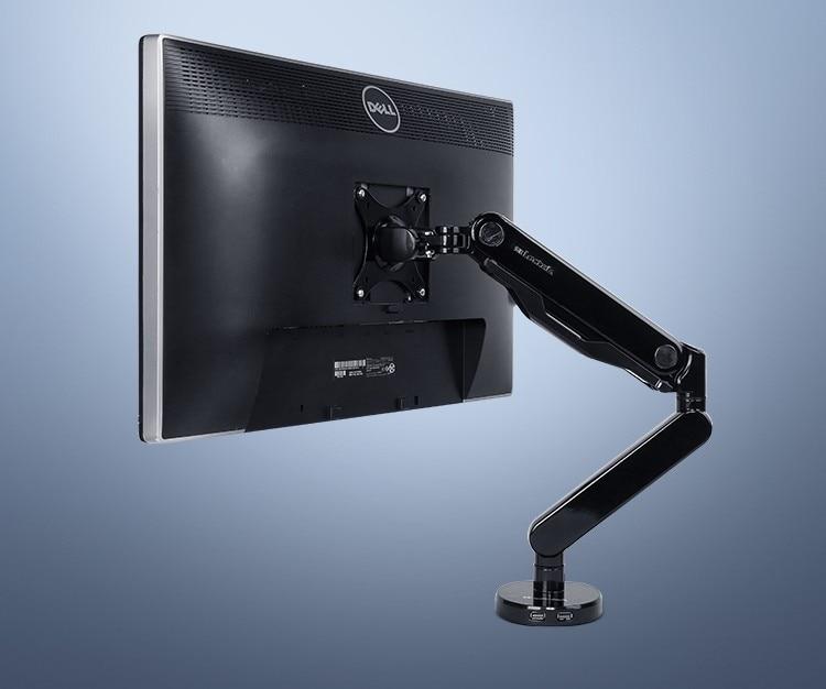 Loctek Q5 Super Quality Full Motion Gas Spring 10-30 inch Desktop Monitor Holder with USB 3.0 Port