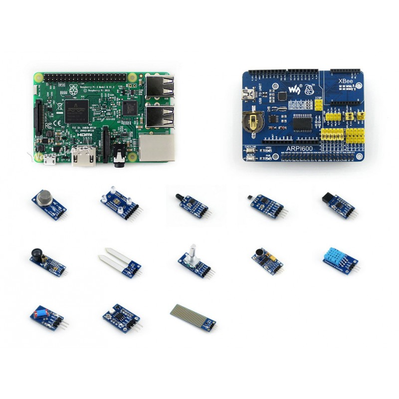 Modules Waveshare Raspberry Pi 3 Model B Module Board and Expansion Board ARPI600 plus Various Sensors Raspberry Pi 3 B Package
