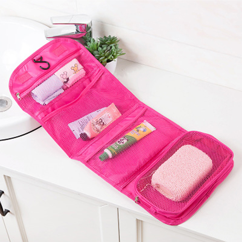 New Cosmetic Bag Folding Hook Cosmetic Bag Travel Portable Organizer Nylon Waterproof Wash Toilet Bag Rose Red