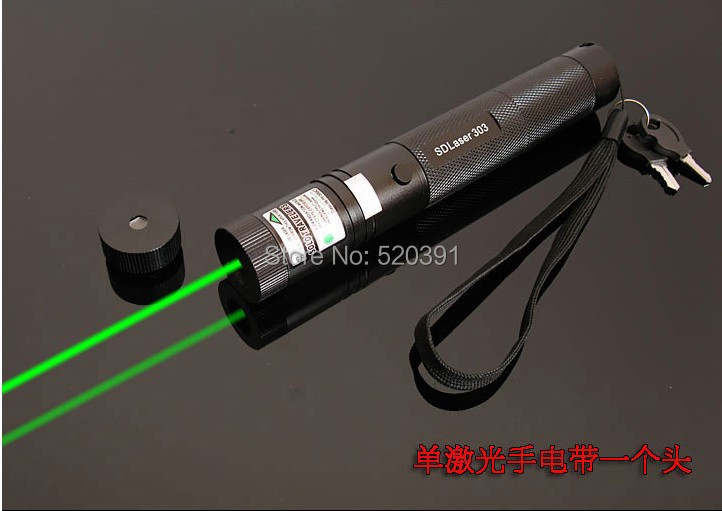 AAA High power Military Burning 300000M SOS Flashlight LED Lazer Green Laser pointers Hunting Burn match,pop balloon+Safe Key