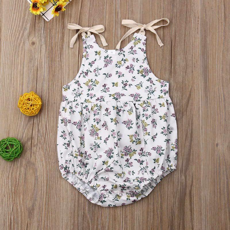 2019 г. Модные летние комбинезоны без рукавов для маленьких девочек, на шнуровке, с цветочным рисунком, с милым принтом, с круглым вырезом, для новорожденных девочек, сарафаны для От 0 до 2 лет