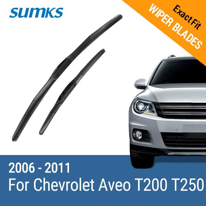 SUMKS Lames D'essuie-Glace pour Chevrolet Aveo T200 T250 22 & 16 Fit Crochet Bras 2006 2007 2008 2009 2010 2011