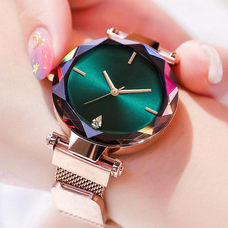 Wholesale Watches Women Quartz Magnetic Rhinestone Casual Ladies Wristwatches Top Sell Creative New 2019 Bayan Kol Saati