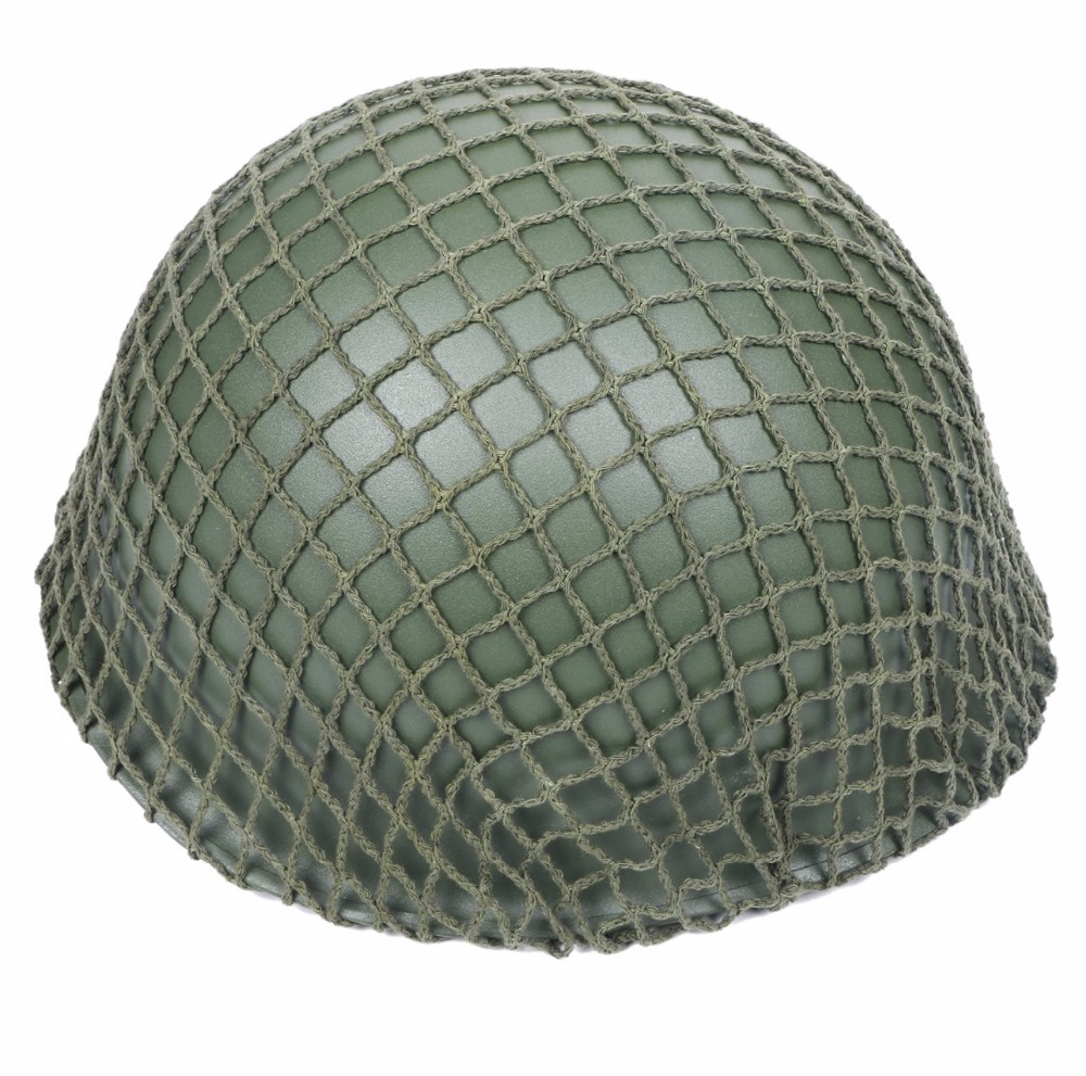 WW2 U.S M1 Military Steel Helmet With Netting Cover WWII Equipment Replica for Hunting Airsoft Protective Helmet new replica ww2 m1 us army military metal helmet for hunting airsoft protective helmet