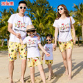 2017 Family Matching Clothes  Summer seaside T-shirt +pants Family look Mother Daughter  son Clothes