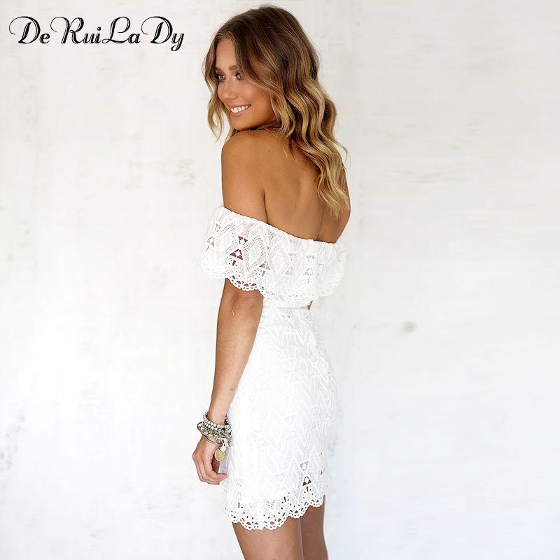 ebc9888f6 DeRuiLaDy Sexy Women Mini Dress Off Shoulder Sexy Lace Embroidery Bodycon  Dresses Summer Beach Party White Casual Dress vestido-in Dresses from  Women s ...