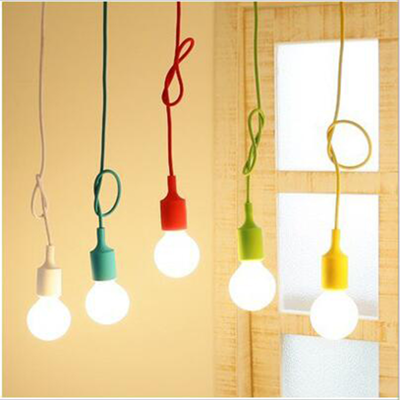 Modern Pendant Lights Color cable E27 lamp holder Pendant Lamp Home decoration lighting fro bedroom dining room clubhouse