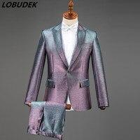 Bright Purple Silver Black Blazer Suit Men's Chorus Stage Clothing Presenter Singer Male Costume Wedding Groom Slim Formal Suits