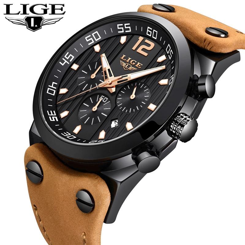 где купить LIGE Mens Watches Top Brand Luxury Mens Military Sports Watch Mens Casual Leather Waterproof Quartz Watch Relogio Masculino+Box по лучшей цене