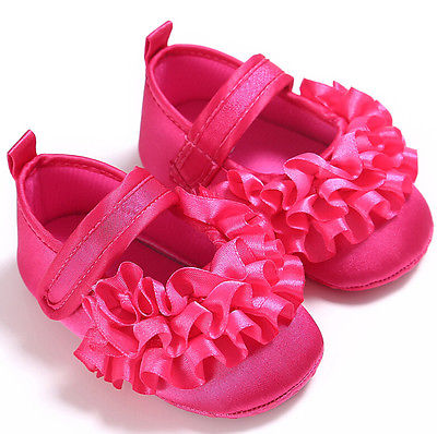 First Walkers Flower Baby Girls Non-Slip Newborn Infant Baby Toddler breathable Frilly Flower Shoes