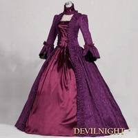 New European Women's Vintage Lolita Gothic Dress Female Long Victorian Jacquard Lace Bandage Dress Halloween Costume Party Dress