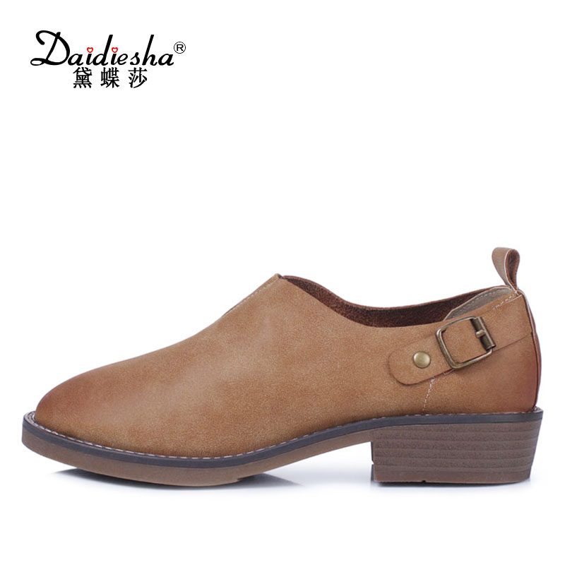 Daidiesha New Spring Women Flats Oxfords Shoes Round Toe Soft Outsole Flat Heel Shoes Buckle Woman Slip-On Casual Shoes stiletto daitifen 2018 spring elegant mental buckle pointed toe ladies flat shoe fancy flock shoes women flats casual slip on women flats