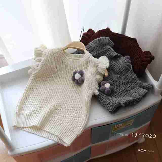brand New 2016 Spring autumn baby cardigan  100% cotton 0-neck sweater vest kids waistcoat vest girls sweaters petal sleeve