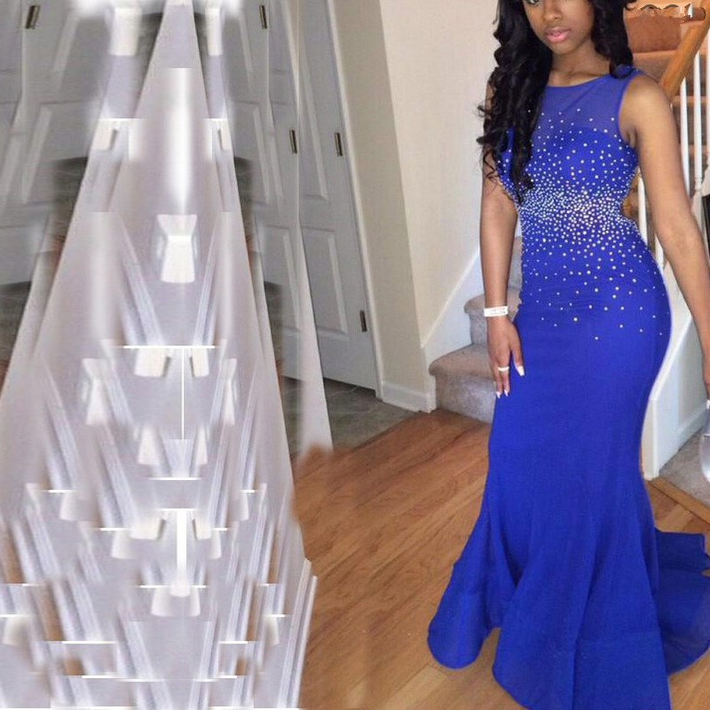 51a9da64e2 Prom Abendkleider 2016 Crystal Dresses Glitter Party Gala Gowns With Beads  Mermaid Fitted Long Open Back Royal Blue Prom Dress-in Prom Dresses from ...