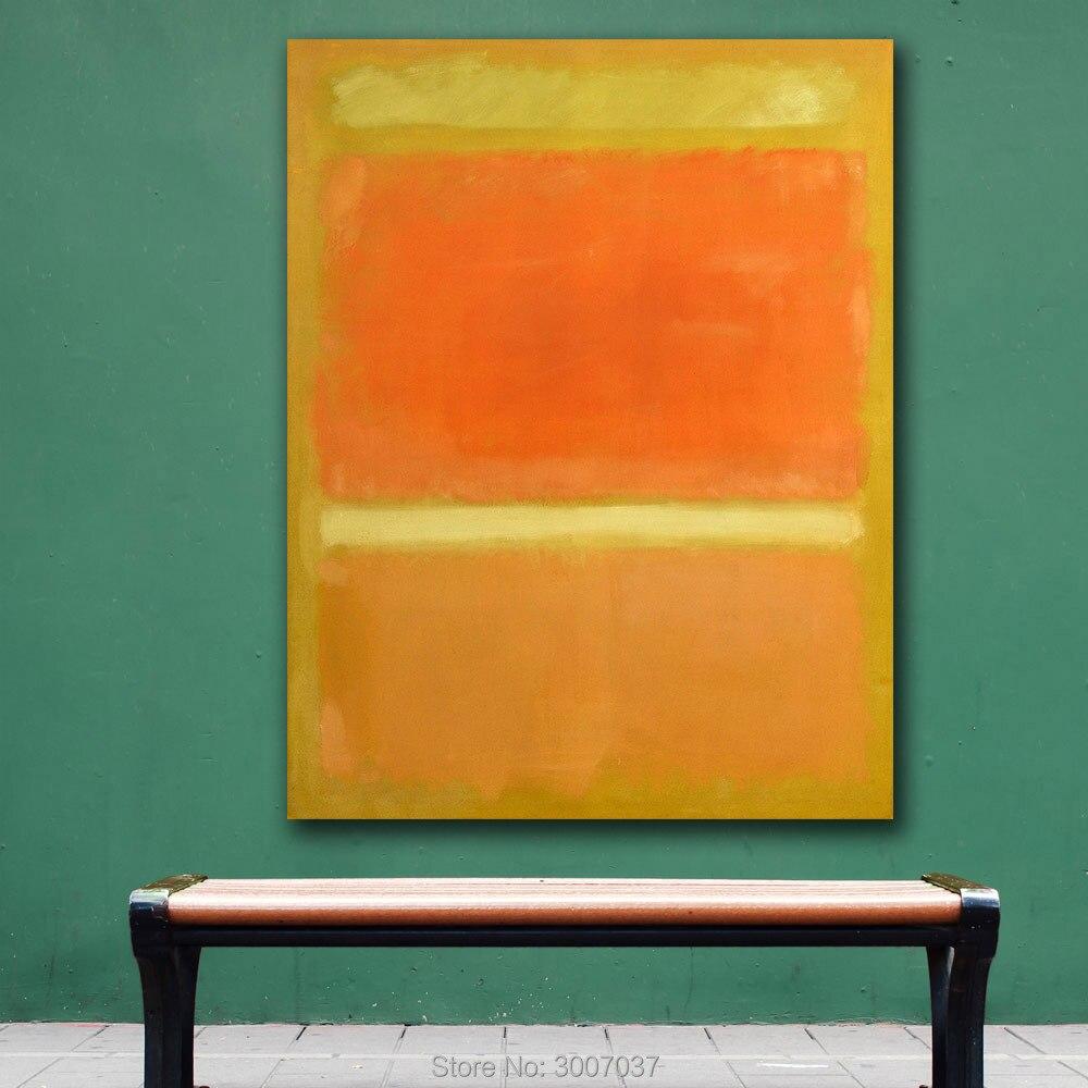 Cuadros de pared modernos para sala de estar abstracto Mark rotko amarillo naranja amarillo luz naranja pintura al óleo envío por DHL fedex
