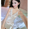 2017 Spring Women Sexy Silk Robe & Nightgown Lady Lace Nightdress Suits Sets Lingerie Female Sleepshirt