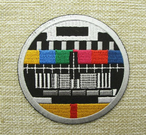 Biker Vest Patches >> Aliexpress.com : Buy RETRO TV TEST CARD Round Embroidered IRON ON/ SEW ON Cool Biker Vest Patch ...