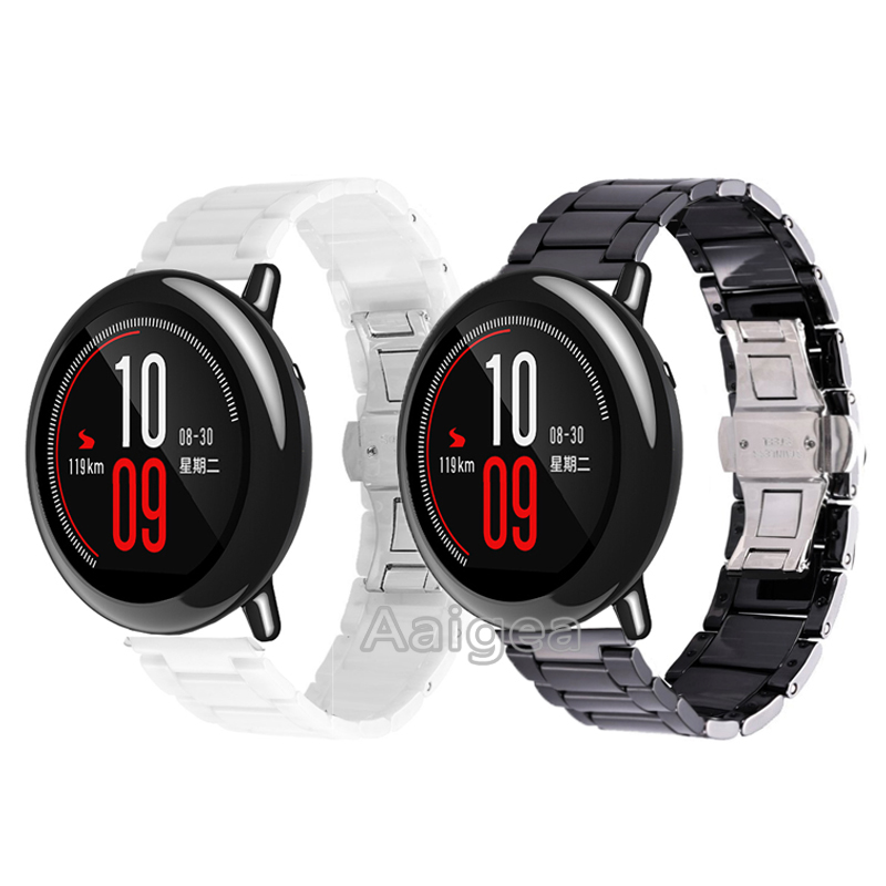 22mm Ceramic Watch Band Strap For Xiaomi Huami Amazfit Pace Smart 3 Link Erfly Glossy Bracelet Replacement Wrist