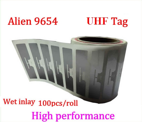 Alien 9654 UHF RFID Wet Inlay 100pcs Per Roll 860-960MHZ Higgs3 915M Can Be Used To RFID Tag