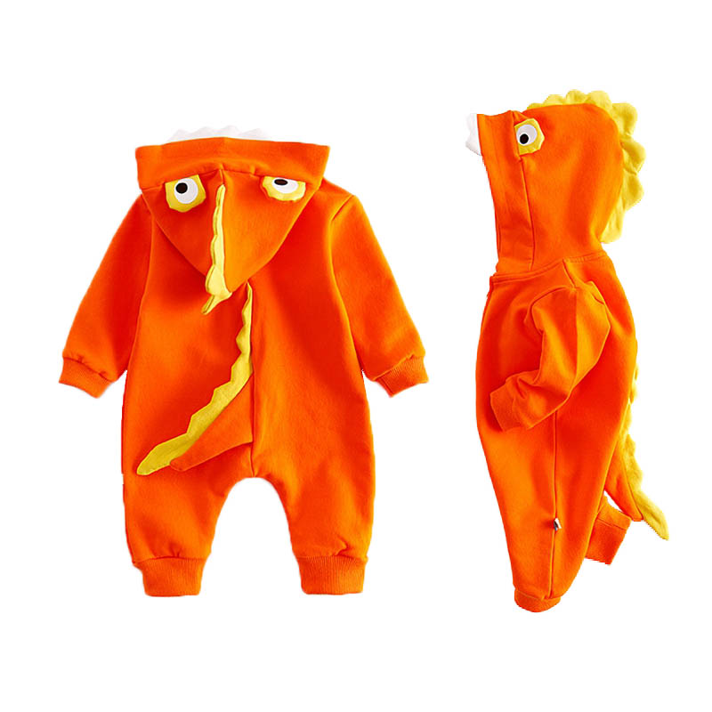 Hooded Baby Costume Long Sleeve Cotton Rompers Baby Girls Boys Clothes Shark Teeth Decor Newborn Infant