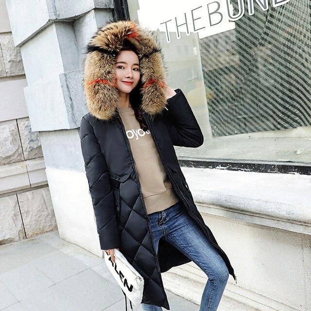 Diamond lattice design Women's winter down jacket long slim slimming even hat Korean version of the waist thick cotton jacket