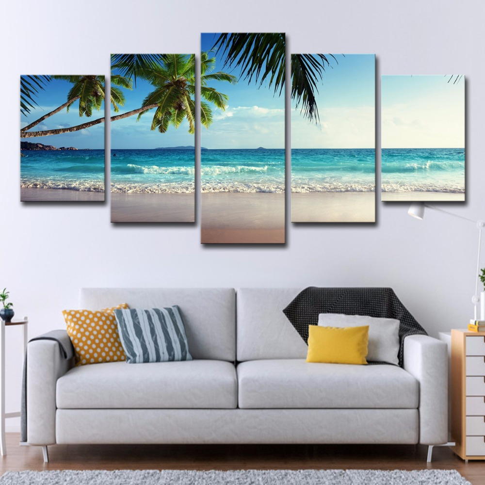 5P0061 Pictures Frame Home Decor Printed Poster 5 Pieces Coconut Tree Blue Sky And Ocean Beach Seascape Wall Art Canvas Painting PENGDA (6)