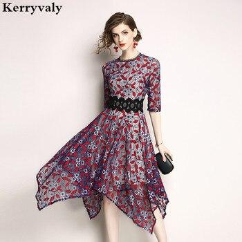 ef8bd06cfb42f Verano Irregular Retro vestido de encaje Zomerjurken 2019 mujeres Midi  vestido de Mujer Vestidos Elegantes Cortos Mujer traje Mujer K6151
