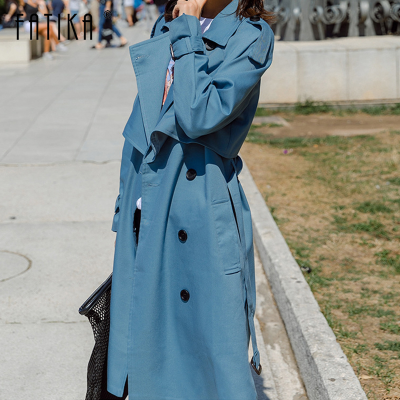 FATIKA 2019 Spring Autumn Loose Stylish Solid Long   Trench   With Sashes Pockets Classic Women Outerwear Coats