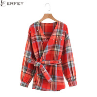 LERFEY Spring Women Plaid Faux Pearl Blouse V Neck Puff Sleeve Bow Knot Blouses Shirts Elegant