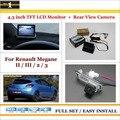 """Traseira do carro Da Câmera + 4.3 """"TFT LCD Monitor de Tela = 2 em 1 Back Up Sistema de estacionamento-Para Renault Megane 2 II/3 III"""