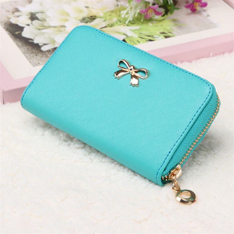 2016 Fashion New Designed Women Korean Cute Bowknot Purse Solid Wearable Short Wallet Handbag Gift Hot