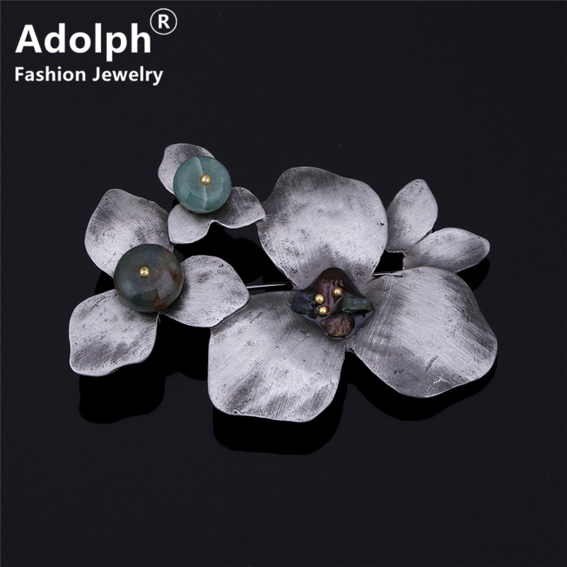 ADOLPH Jewelry Vintage Flower Stone Brooch Pins For Woman Clothers Dress Retro Bride Broochs Fashion Accessories Female 2018 New