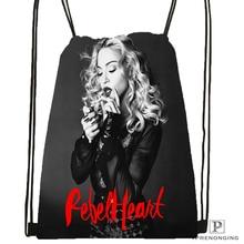 Custom Madonna Drawstring Backpack Bag Cute Daypack Kids Satchel (Black Back) 31x40cm#180531-03-66