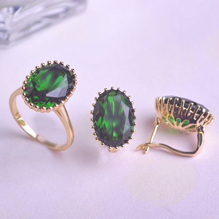 Hot Sale Fashion Wedding Green White Earrings Ring Jewelry Sets AAAAA Zircon Drop Quality Trustworthy Professional Wholesale