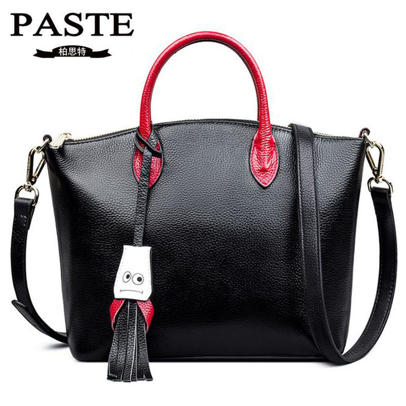 PASTE New Design Genuine Leather Handbag Women Bags Fashion Tassel Cowhide Messenger Bag Lovely Smile Shoulder Bags Casual Tote