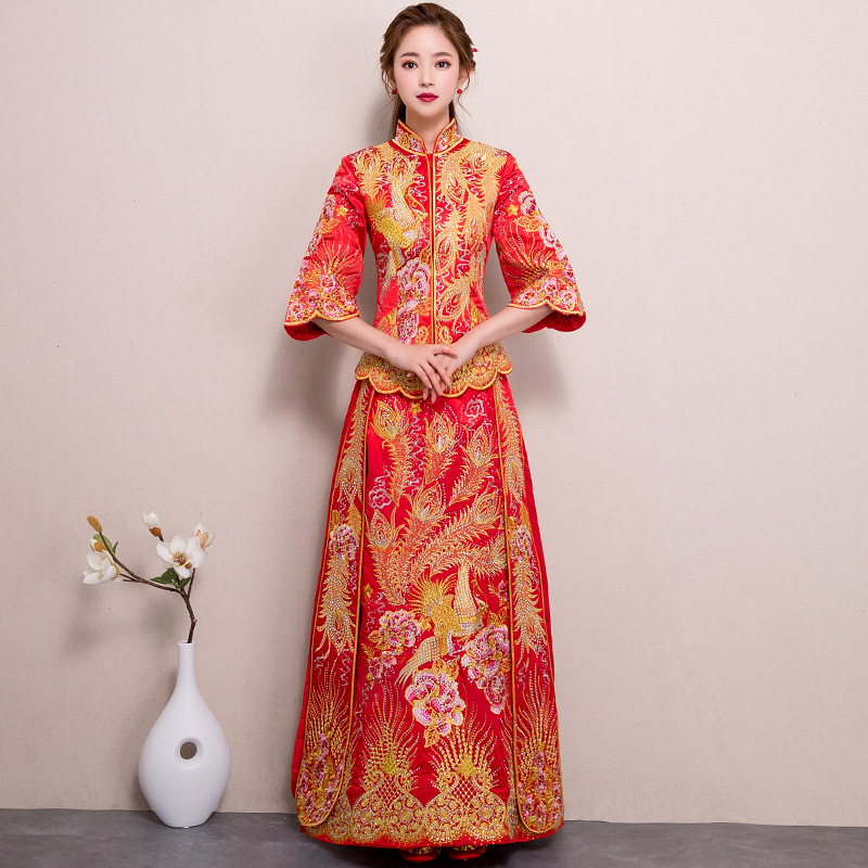 Royaume-Uni pas de taxe de vente grand Prix Traditional Chinese Wedding Dress Embroidery Cheongsam Long ...