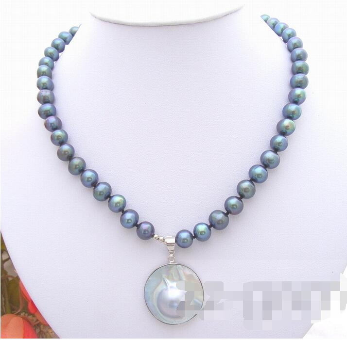 Moda popular 8mm collar de perlas negras
