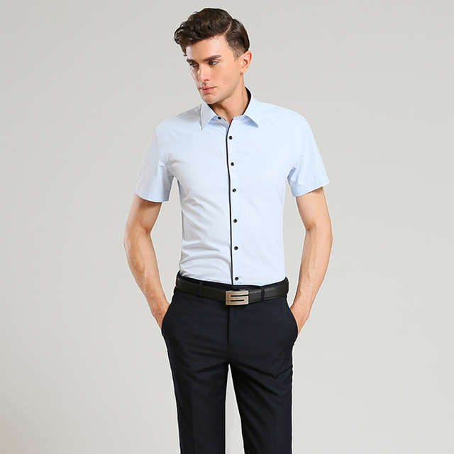 3a7e2219cc3f 2017 Summer Style Men s Brand Clothes Turn-Down Collar Short Sleeve Shirts  Mens Dress Shirts Slim Fit Solid Color Shirt For Men