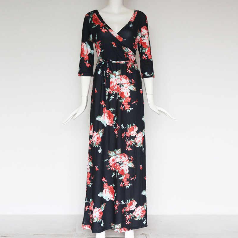 Осеннее длинное платье 2019 цветочный принт Бохо пляжное платье туника сексуальные длинные платья V шеи Бандажное платье женское вечернее платье