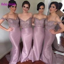 Designer 2016 Long Sexy Mermaid Bridesmaid Dress 2015 Winter Off The Shoulder Satin Lace Maid Of