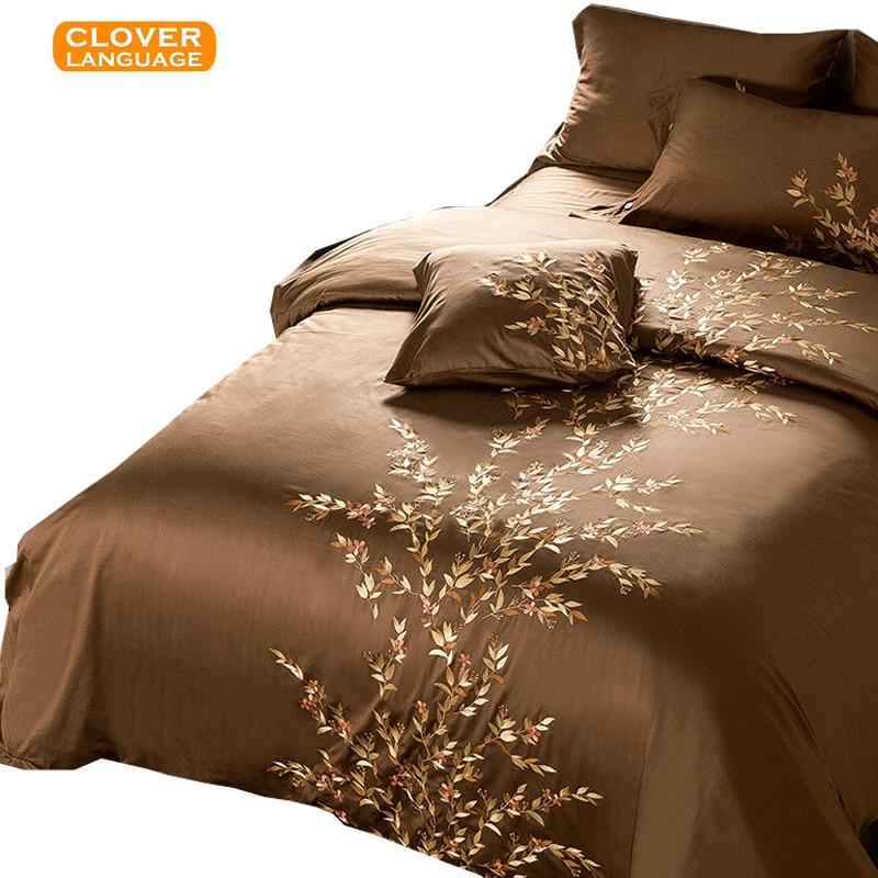 Palace Luxury Egyptian Cotton King Bedding Set Satin Cotton Embroidery Home Textile 4 PCS Duvet Cover Sheet 2 Pillowcase Bedding