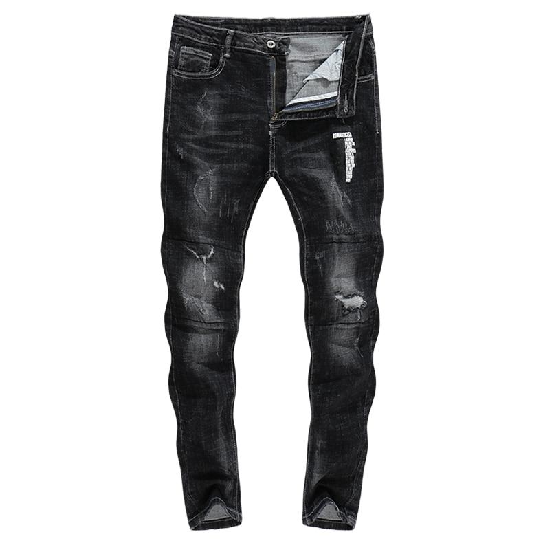 KSTUN Mens Jeans Autumn and Winter Skinny Elastic Black Ripped Distressed Print Letters Broken Hip