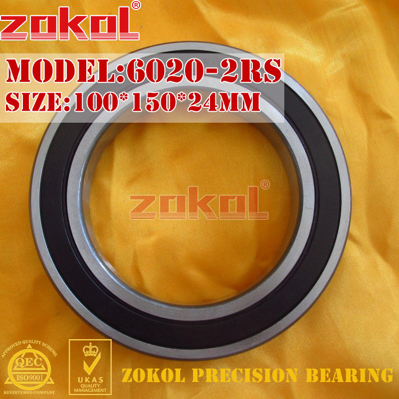 ZOKOL 6020RS Bearing 6020 2RS 180120 6020-2RS Deep Groove Ball Bearing 100*150*24mm