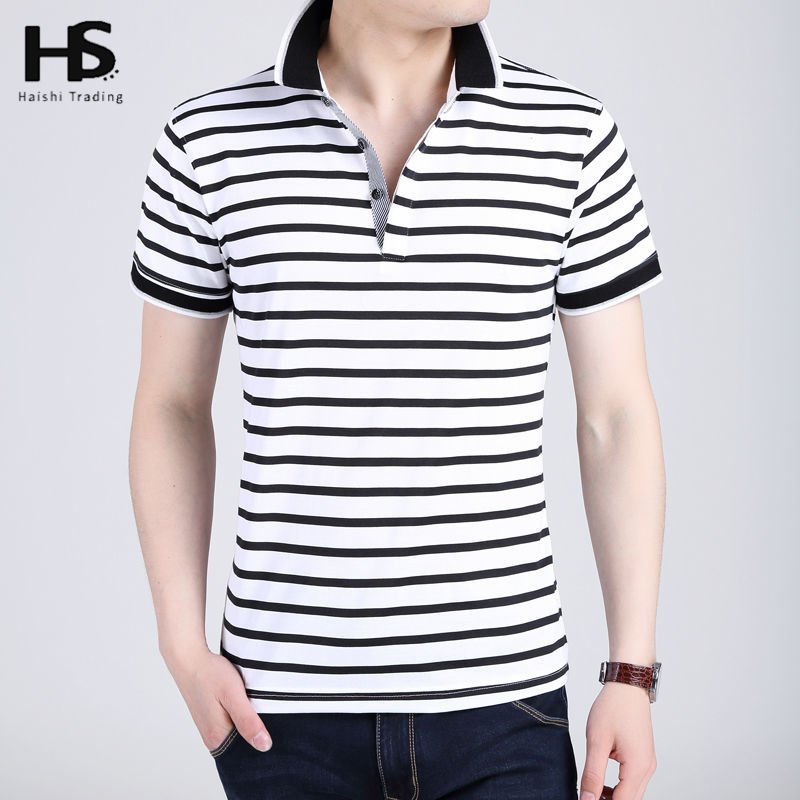 Fashion Striped T Shirt Men 2016 Summer New Cotton Short Sleeve T-Shirt Men brand Casual Slim Fit Turn-down Collar Top Male 2259