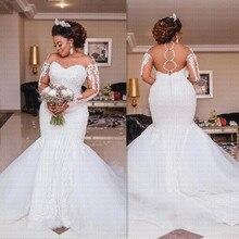 럭셔리 아프리카 인 어 공주 웨딩 드레스 2021 깎아 지른 Backless 긴 소매 환상 아랍어 신부 가운
