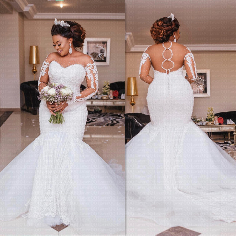 Luxury African Mermaid Wedding Dress 2020 Sheer Backless Long Sleeve Illusion Arabic Bridal Gowns