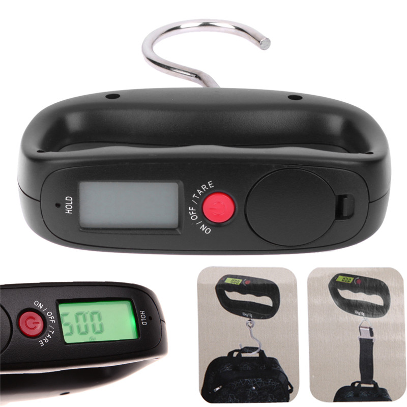 Portable 50kg 10g LCD Digital Electronic Kitchen Scale Luggage Hanging Scale Backlight Balance Weighing Tools